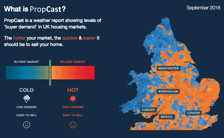 PropCast is a weather report showing levels of 'buyer demand' in UK housing markets.